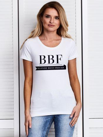 Biały t-shirt BBF BLONDE BEST FRIEND dla przyjaciółek