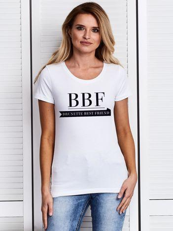 Biały t-shirt BBF BRUNETTE BEST FRIEND dla przyjaciółek