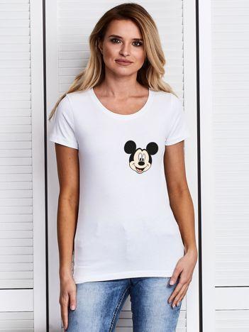 Biały t-shirt DISNEY z Myszką Miki