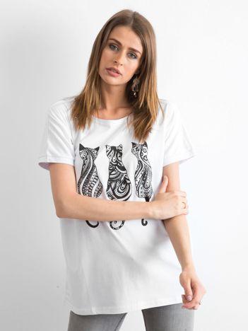 Biały t-shirt Kittens