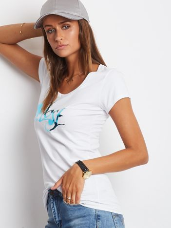 Biały t-shirt Lost