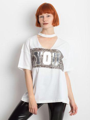 Biały t-shirt Ruffle