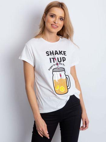 Biały t-shirt SHAKE IT UP