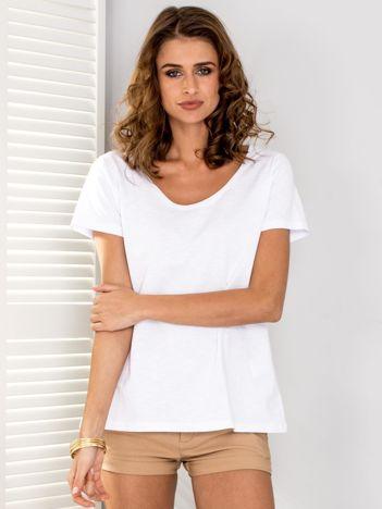 Biały t-shirt V-neck