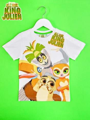 Biały t-shirt chłopięcy z nadrukiem KRÓL JULIAN