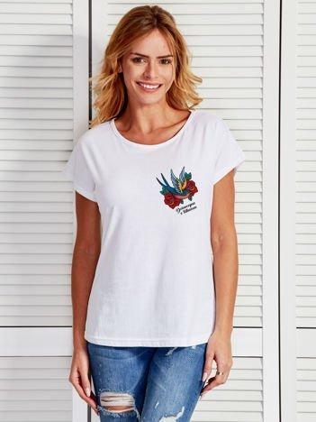 Biały t-shirt damski z nadrukiem tatuażowym