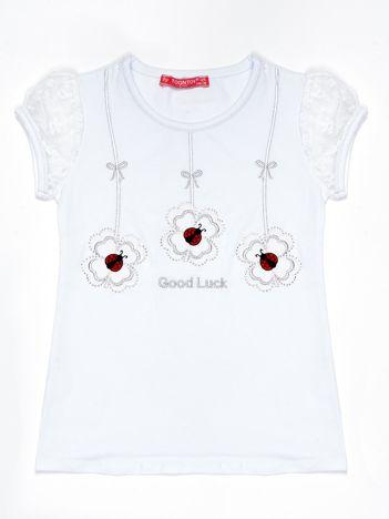 Biały t-shirt dla dziewczynki z biedronkami