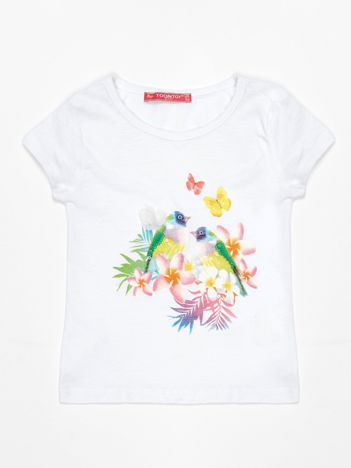 Biały t-shirt dla dziewczynki z egzotycznym nadrukiem i cekinami