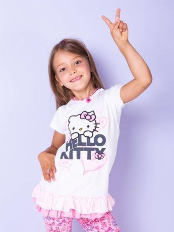 Biały t-shirt dla dziewczynki z motywem HELLO KITTY