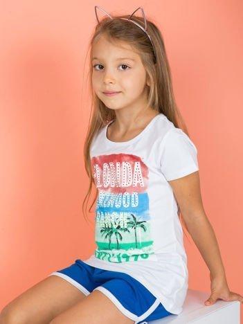 Biały t-shirt dla dziewczynki z napisami