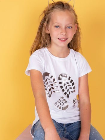 Biały t-shirt dla dziewczynki z odciskiem buta
