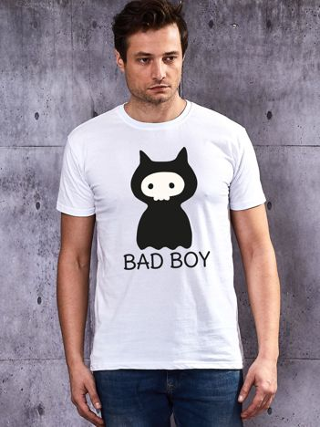 Biały t-shirt dla par BAD BOY