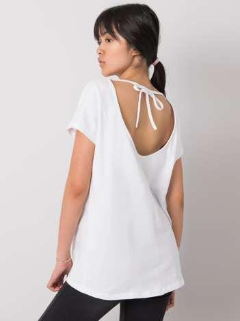 Biały t-shirt jednokolorowy Nadia