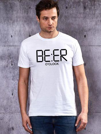 Biały t-shirt męski BEER O'CLOCK dla piwosza