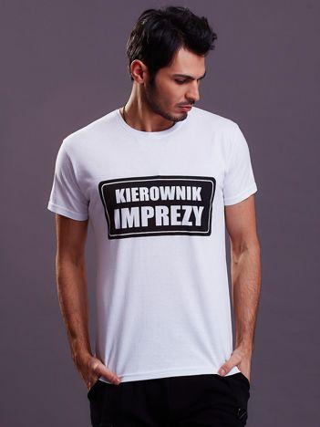 Biały t-shirt męski KIEROWNIK IMPREZY
