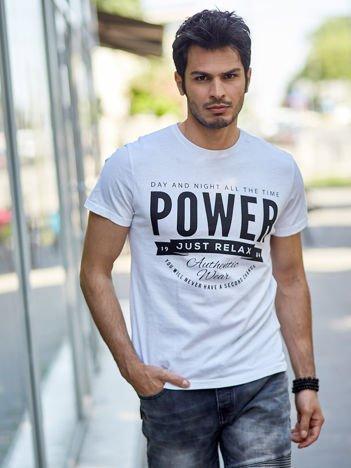 Biały t-shirt męski Power