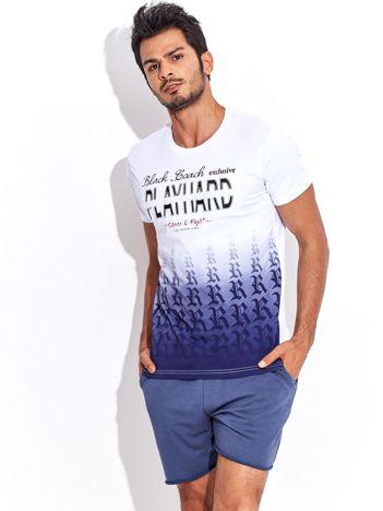 Biały t-shirt męski ombre z wypukłym nadrukiem tekstowym