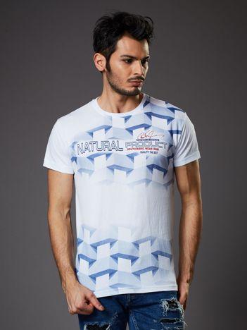 Biały t-shirt męski z futurystycznym nadrukiem