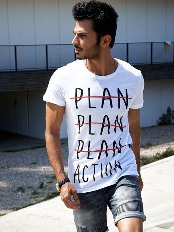 Biały t-shirt męski z motywacyjnym nadrukiem