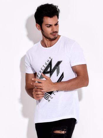 Biały t-shirt męski z nadrukiem sportowym