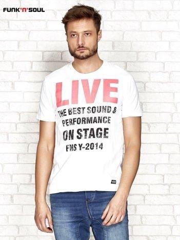 Biały t-shirt męski z napisem LIVE Funk n Soul