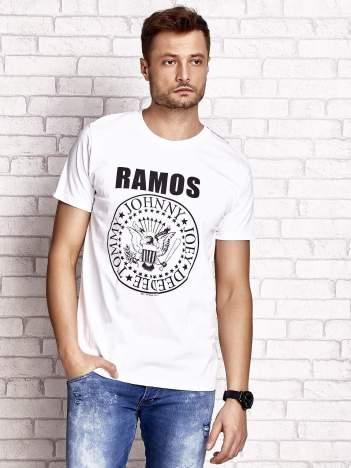 Biały t-shirt męski z napisem RAMOS i nadrukiem