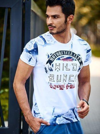 Biały t-shirt męski z napisem wypukłym WILD BUNCH
