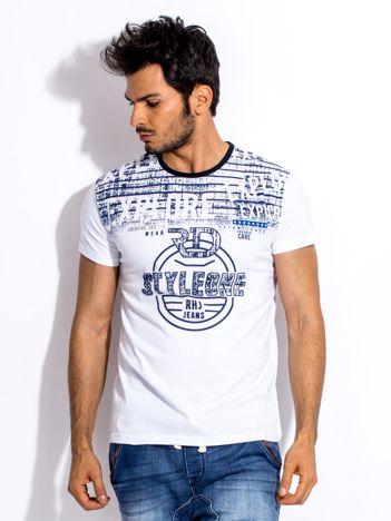 Biały t-shirt męski z okrągłym nadrukiem