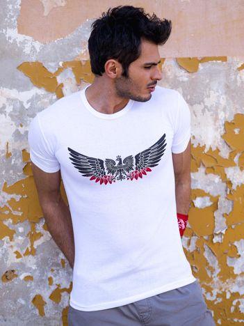 Biały t-shirt męski z orłem