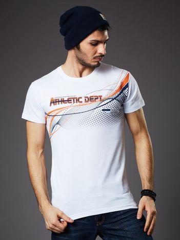 Biały t-shirt męski z printem