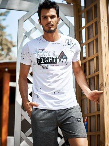 Biały t-shirt męski z wypukłym nadrukiem i napisami