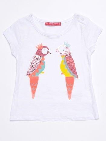 Biały t-shirt niemowlęcy z papużkami