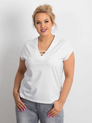 Biały t-shirt plus size Darlyne
