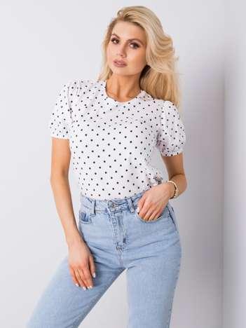 Biały t-shirt w groszki Enna