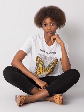 Biały t-shirt z aplikacją Abarrane