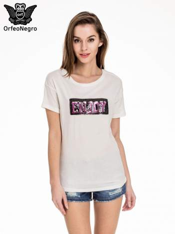 Biały t-shirt z aplikacją ENJOY z cekinów