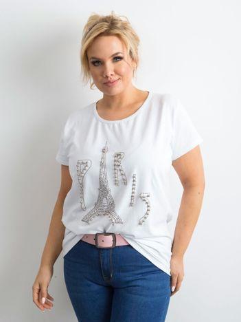 Biały t-shirt z aplikacją PLUS SIZE