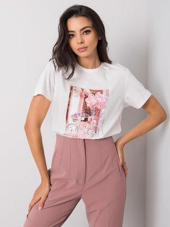 Biały t-shirt z aplikacjami Alandra