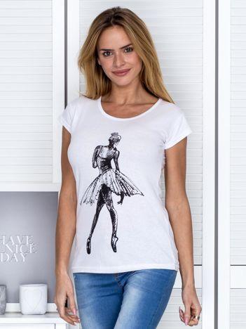 Biały t-shirt z baletnicą