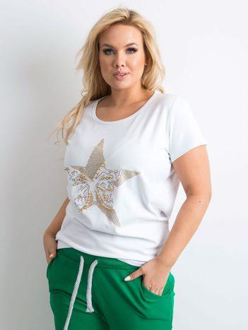 Biały t-shirt z błyszczącą aplikacją PLUS SIZE