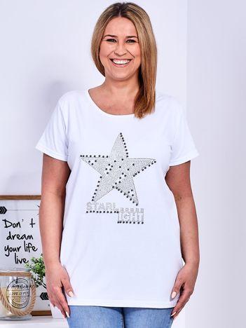 Biały t-shirt z błyszczącą gwiazdą PLUS SIZE