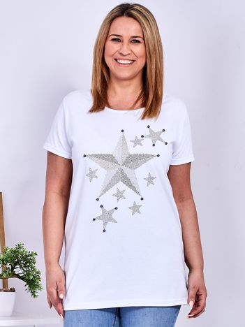 Biały t-shirt z błyszczącymi gwiazdami PLUS SIZE
