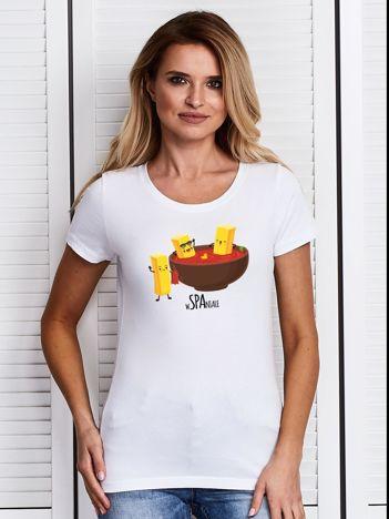 Biały t-shirt z frytkami i keczupem