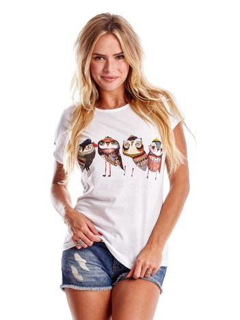 Biały t-shirt z motywem ptaków