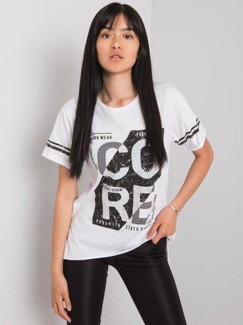 Biały t-shirt z nadrukiem Amber