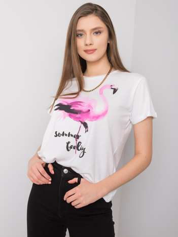 Biały t-shirt z nadrukiem Romily SUBLEVEL