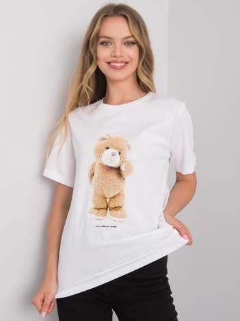Biały t-shirt z nadrukiem Teddy