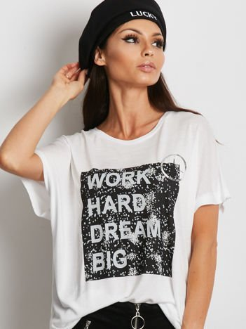 Biały t-shirt z napisem WORK HARD DREAM BIG