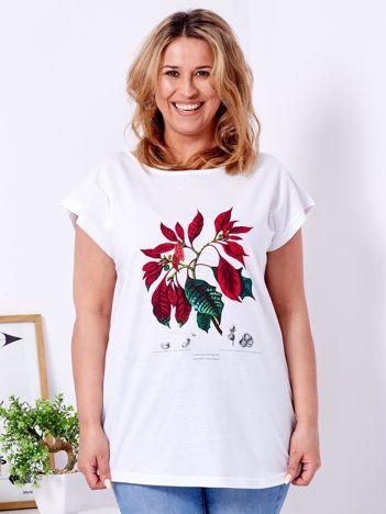 faaf9532fbca Biały t-shirt z poinsecją PLUS SIZE