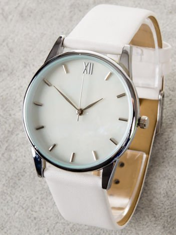 Biały zegarek damski z perłową tarczą